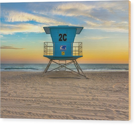 Coronado Beach Lifeguard Tower At Sunset Wood Print