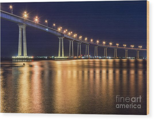 Coronado Bridge Wood Print by Eddie Yerkish