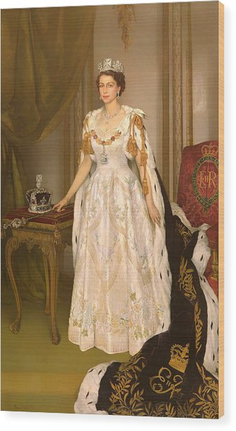 Coronation Portrait Of Queen Elizabeth II Of The United Kingdom Wood Print