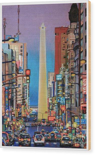 Corrientes Avenue Wood Print