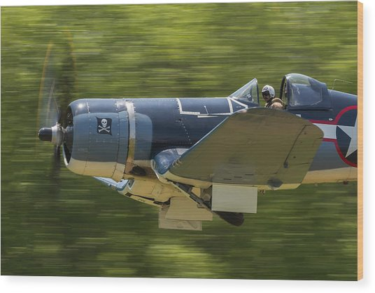 Corsair Close-up On Takeoff Wood Print