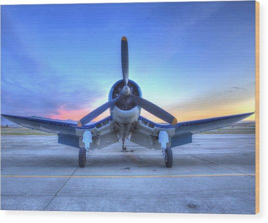 Corsair F4u At The Hollister Air Show Wood Print