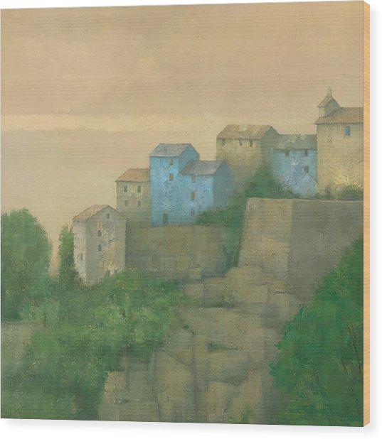 Corsican Hill Top Village Wood Print