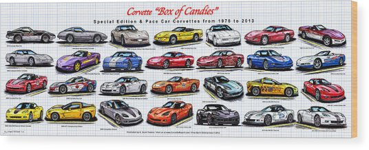 Corvette Box Of Candies - Special Edition And Indy 500 Pace Car Corvettes Wood Print