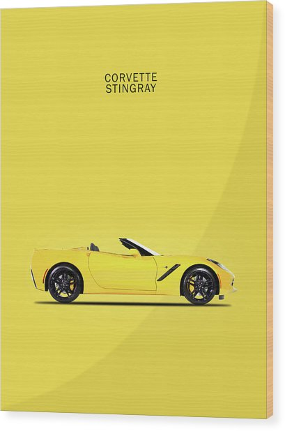 Corvette In Yellow Wood Print