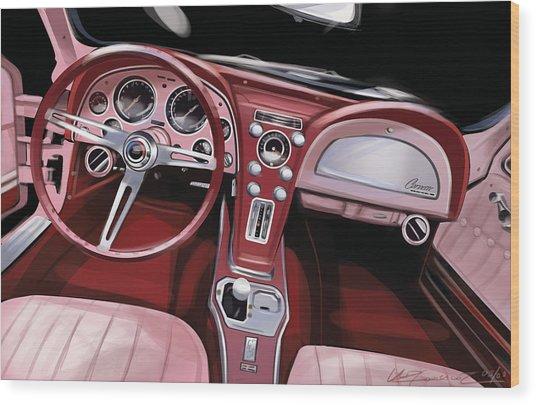 Corvette Sting Ray Interior Wood Print by Uli Gonzalez
