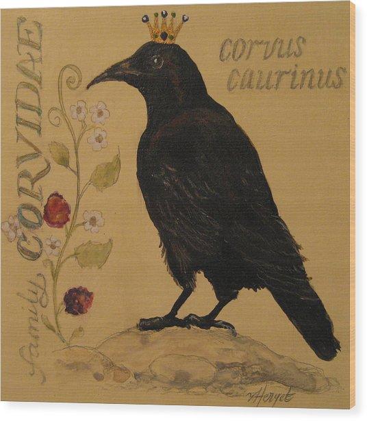 Corvus Caurinus Wood Print by Victoria Heryet