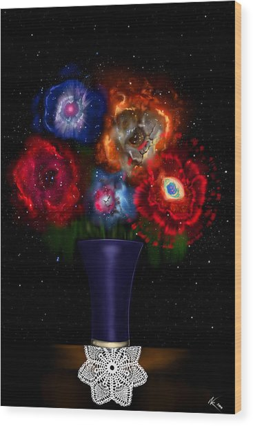 Cosmic Bouquet Wood Print