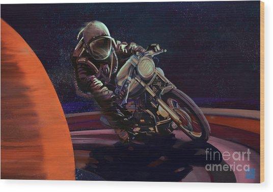 Cosmic Cafe Racer Wood Print