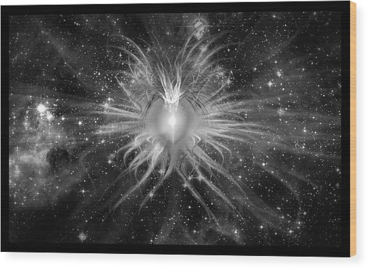 Wood Print featuring the digital art Cosmic Heart Of The Universe Bw by Shawn Dall