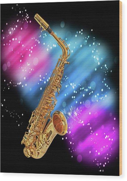Cosmic Sax Wood Print