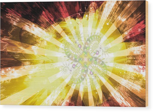 Cosmic Solar Flower Fern Flare 2 Wood Print