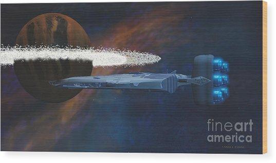 Cosmic Spaceship Wood Print