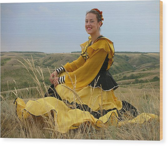 Cossack Young Lady Wood Print