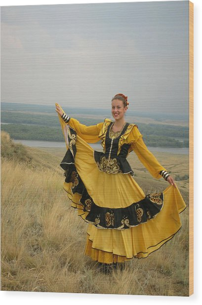 Cossack Young Woman Wood Print