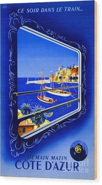 Cote D'azur Vintage Poster Restored Wood Print