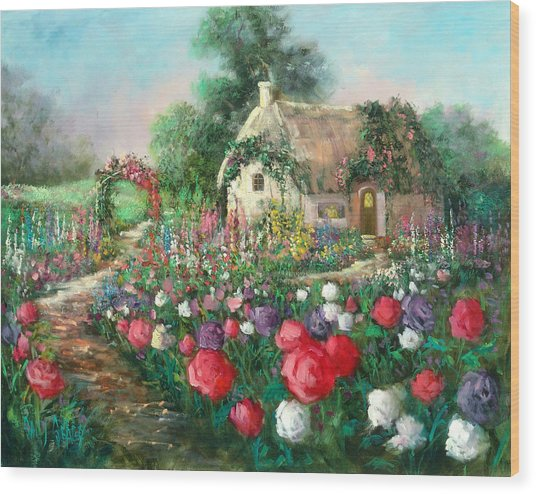 Cotswold Rose Garden Wood Print by Sally Seago