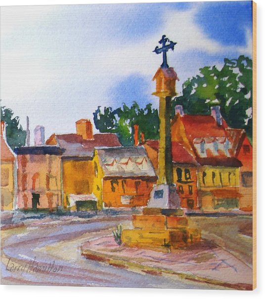 Cotswolds Town Center Wood Print