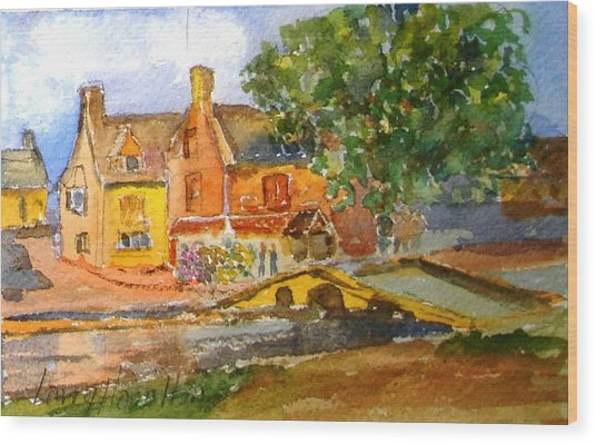 Cotswolds Town Study Wood Print by Larry Hamilton
