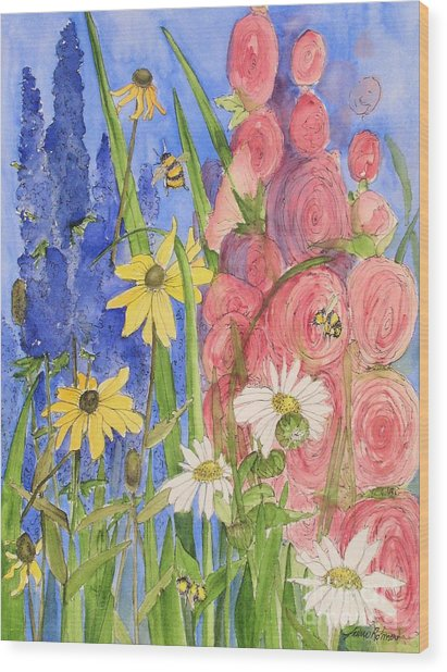 Cottage Garden Daisies And Blue Skies Wood Print
