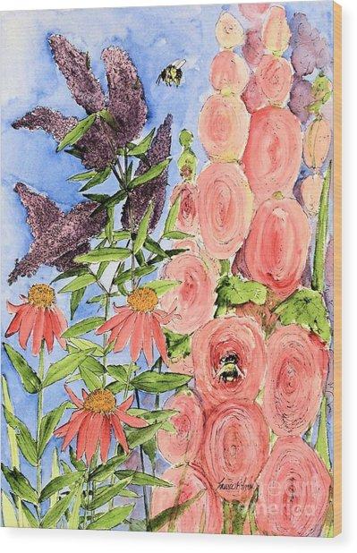 Cottage Garden Hollyhock Bees Blue Skie Wood Print