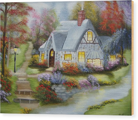 Cottage In Fall Wood Print