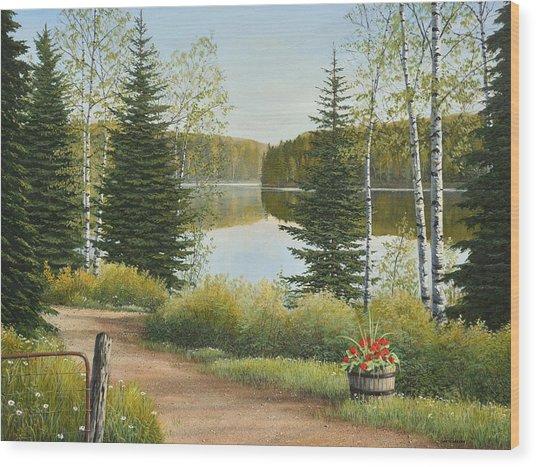 Cottage Lane Wood Print