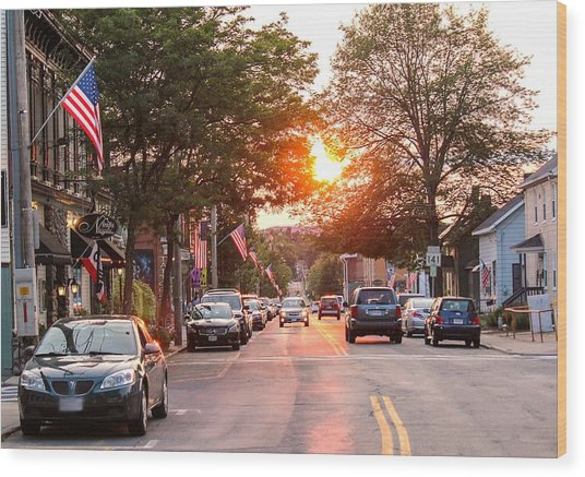 Cottage Street Summer Sunset Wood Print