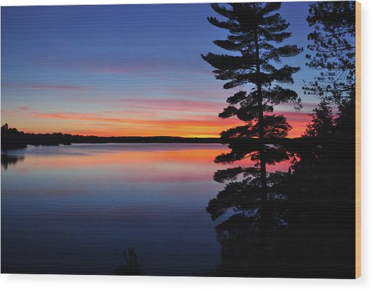 Cottage Sunset Wood Print