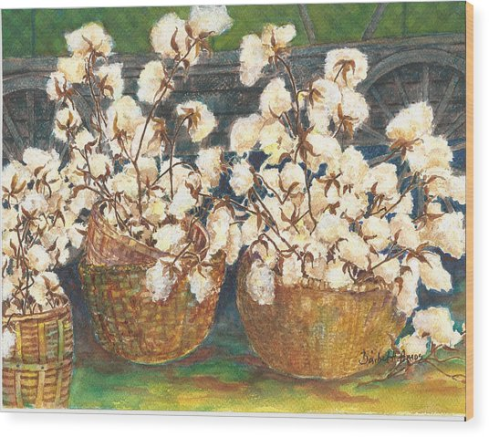 Cotton Basket Wood Print