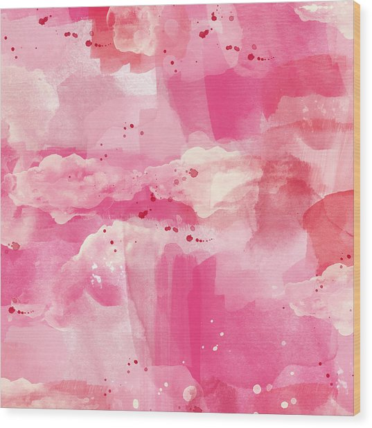 Cotton Candy Clouds- Abstract Watercolor Wood Print