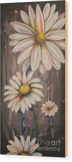 Cotton Candy Daisies Wood Print