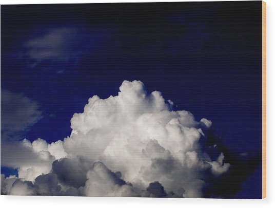 Cotton Sky Wood Print by Kathy Daxon