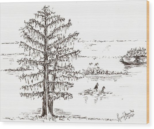 Cotton Tree In A South-east Asian Countryside Wood Print by Remy Francis