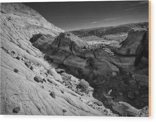 Cottonwood Creek Strange Rocks 7 Bw Wood Print
