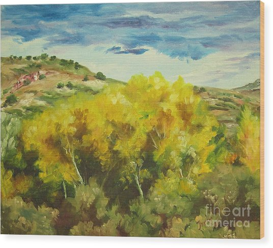 Cottonwoods Wood Print by Theresa Higby