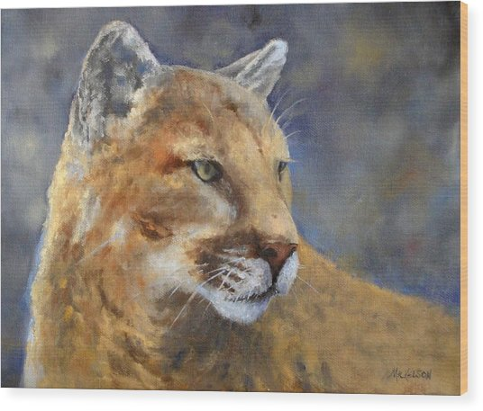 Cougar Wood Print by Debra Mickelson