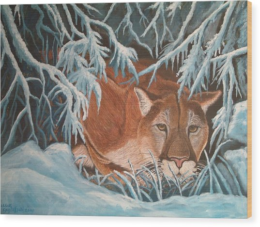 Cougar In Snow Wood Print by Nick Gustafson