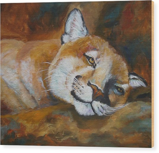 Cougar Wildlife Painting Wood Print by Mary Jo Zorad