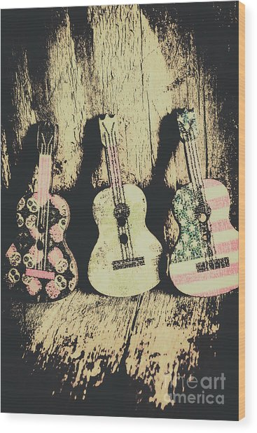 Country And Western Saloon Songs Wood Print