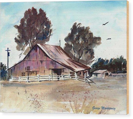 Country Barn Wood Print by George Markiewicz