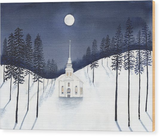 Country Church In Moonlight 2, Silent Night Wood Print