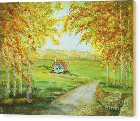 Country Church Wood Print by Maryann Schigur