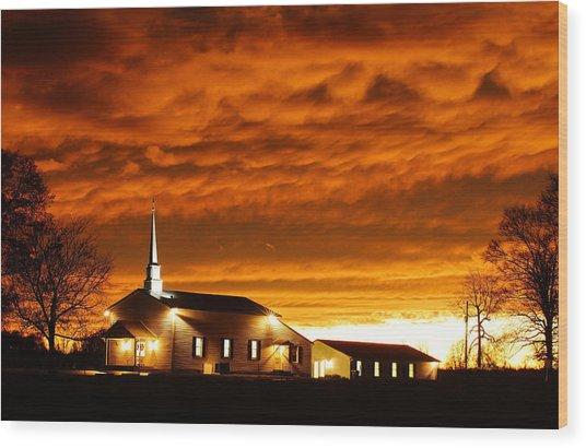 Country Church Sundown Wood Print by Keith Bridgman