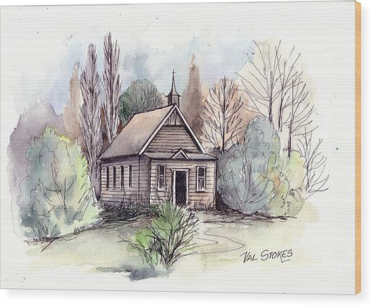 Country Church Wood Print by Val Stokes