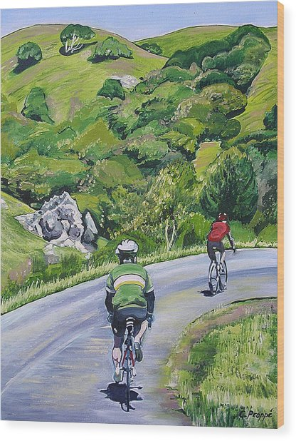 Country Cyclists Wood Print by Colleen Proppe