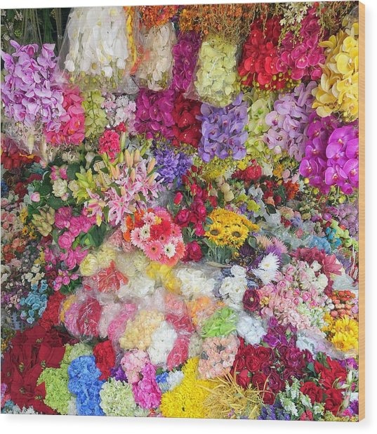 Country Flower Garden Colourful Design Wood Print
