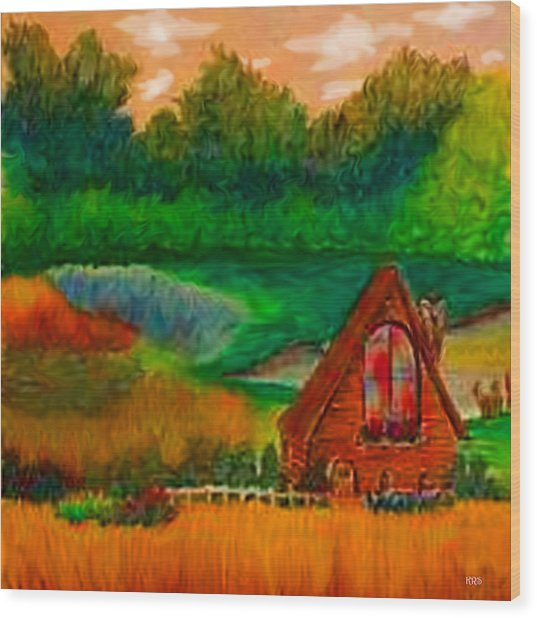 Country Wood Print by Karen R Scoville