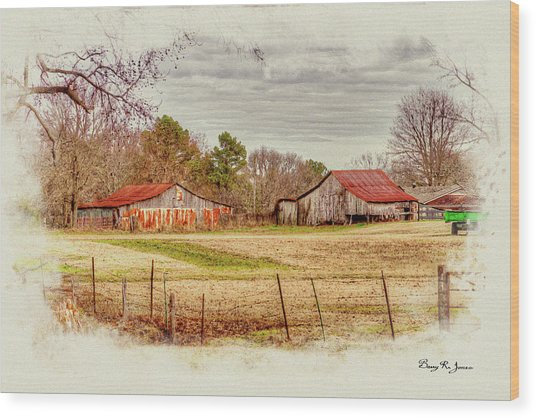 Wood Print featuring the digital art Country Landscape by Barry Jones