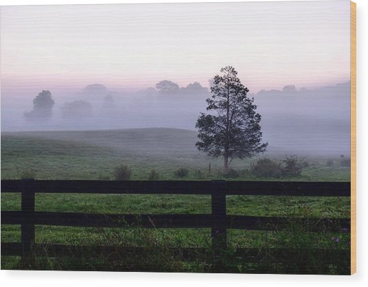 Country Morning Fog Wood Print